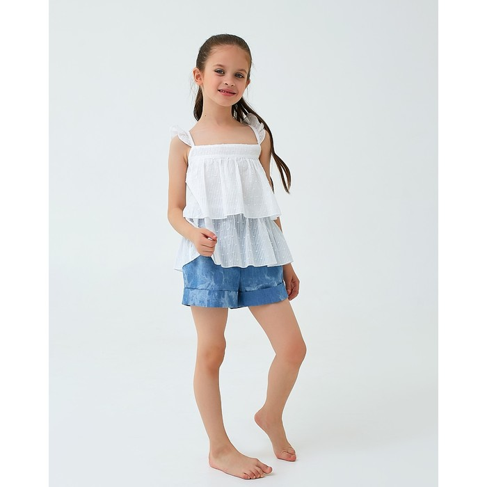 Шорты для девочки MINAKU: cotton collection romantic, цвет джинс, рост 122 см