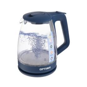 Чайник электрический OPTIMA EK-1718G, 2200 Вт, 1.7 л, подсветка, стекло, синий