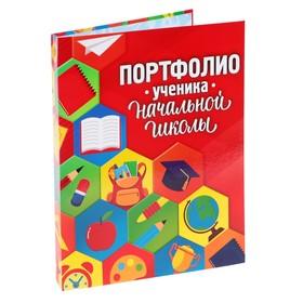 Папка на кольцах «Портфолио ученика начальной школы», соты, 24,5 х 32 см