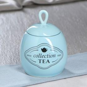 """Сахарница """"Петелька"""" 0,5 л, глазурь, голубая, чайный рисунок"""