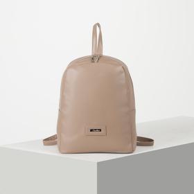 Рюкзак молодёжный, отдел на молнии, цвет тёмно-бежевый