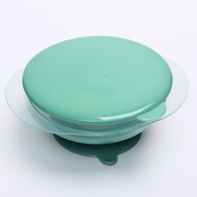 Тарелка на присоске с крышкой, цвет olive