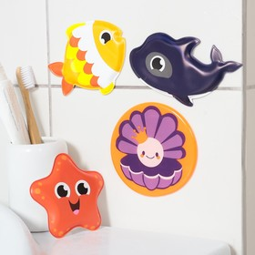 """Набор ПВХ игрушек для ванны 3шт + мини-коврик """"Морские друзья"""" в наличии"""
