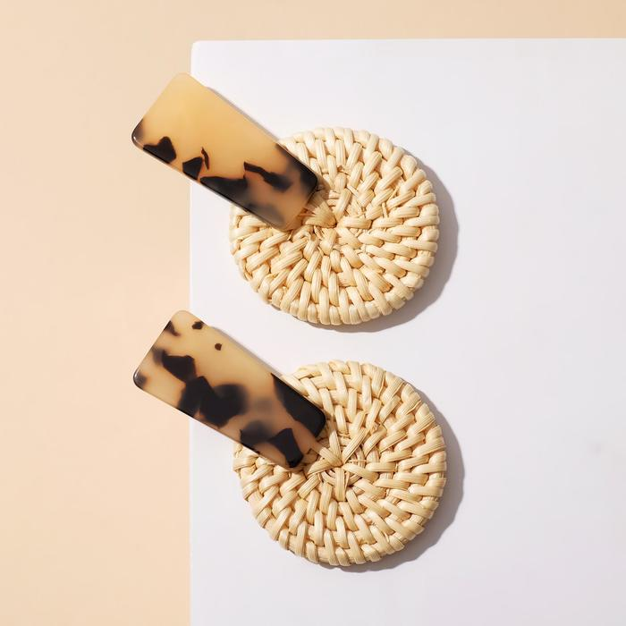 """Серьги ассорти """"Ваканда"""" диск с прямоугольником, цвет леопардово-бежевый - фото 2125459"""