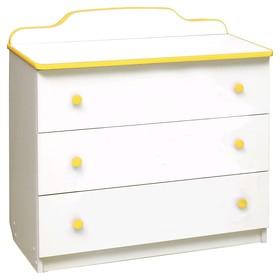 Комод с 3-мя ящиками, 810 × 450 × 850 мм, лдсп, цвет белый / кант и ручки жёлтые