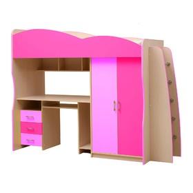 Детский уголок «Юниор 3.1», 800 × 2000 мм, цвет дуб молочный/ярко-розовый/светло-розовый