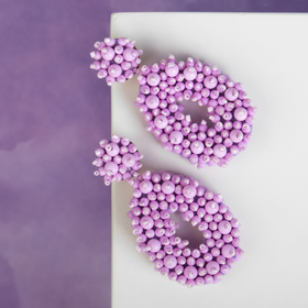 "Plastic earrings ""Pearls"" drop, color lilac"