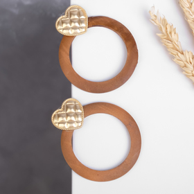 """Earrings cuts of """"Wakanda"""" hardwood, round with heart, color brown gold"""