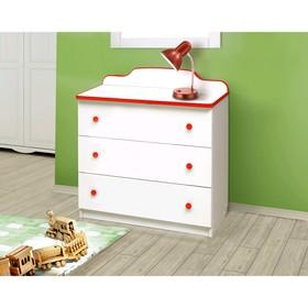 Комод с 3-мя ящиками, 810 × 450 × 850 мм, лдсп, цвет белый / кант и ручки красные