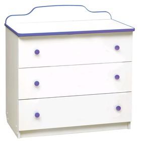 Комод с 3-мя ящиками, 810 × 450 × 850 мм, лдсп, цвет белый / кант и ручки фиолетовые