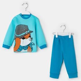 Комплект для мальчика (джемпер, брюки), цвет синий, рост 74 см (48)