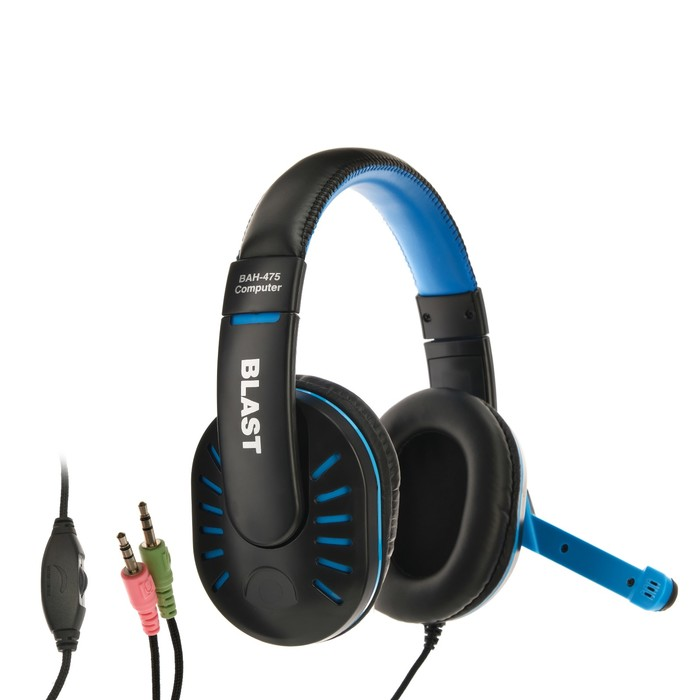 Наушники Blast BAH-475, компьютерные, микрофон, 105 дБ, 32 Ом, 3.5 мм, 2.2 м, черно-синие