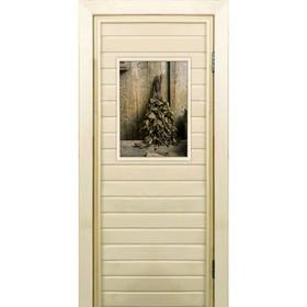 """Дверь для бани со стеклом (40*60), """"Веник в бане-2"""", 180×70см, коробка из осины"""