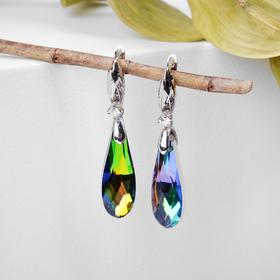 """Earrings with rhinestones """"the Illusion"""" drop oblong to oval, color white petrol in silver"""