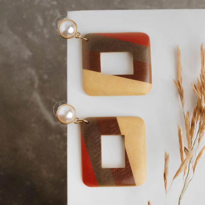 """Серьги ассорти """"Ваканда"""" рисунок, квадрат с бусиной, цветные в золоте - фото 2125488"""