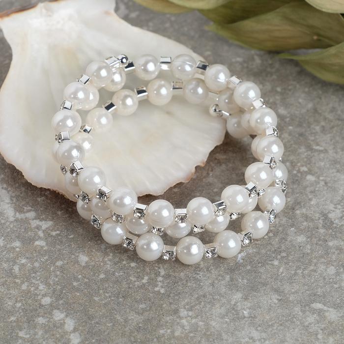 """Браслет жемчуг """"Пружинка"""" стразинки, шар 8, цвет белый в серебре, 6см - фото 491328"""