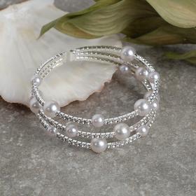 """Браслет жемчуг """"Пружинка"""" сияние, d=0,8, цвет белый в серебре, 5см"""