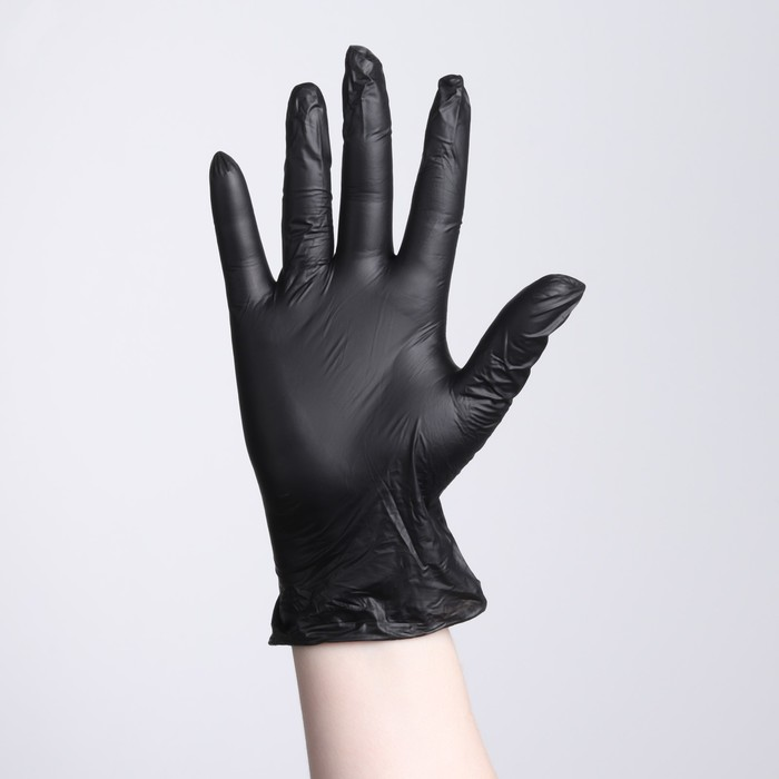 Перчатки виниловые, размер XL, 100 шт/уп, 9 гр, цвет чёрный