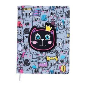 Дневник универсальный для 1-11 классов Cat Princess, твёрдая обложка, искусственная кожа, аппликация, ляссе