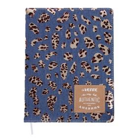 Дневник универсальный для 1-11 классов Leopard pattern on the jeans, твёрдая обложка, шелкография, тиснение фольгой, ляссе, тонированный блок