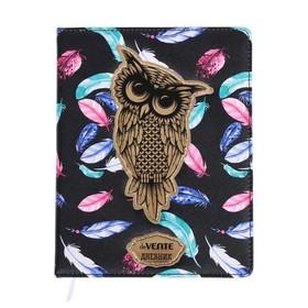 Дневник универсальный для 1-11 классов Owl, твёрдая обложка, искусственная кожа, аппликация, шелкография, ляссе
