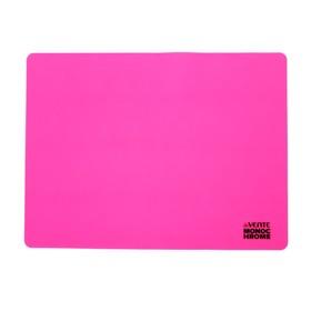 Накладка на стол силикон А3, 400 х 300 мм, Monochrome неон розовое, в пластиковом боксе