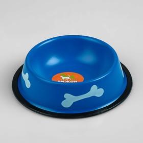 Миска с косточками, железная с нескользящим основанием, 150 мл, синяя
