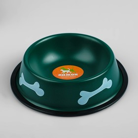 Миска с косточками, железная с нескользящим основанием, 150 мл, зелёная