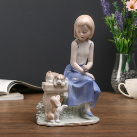 """Souvenir """"the Girl with the puppies on the bench"""""""