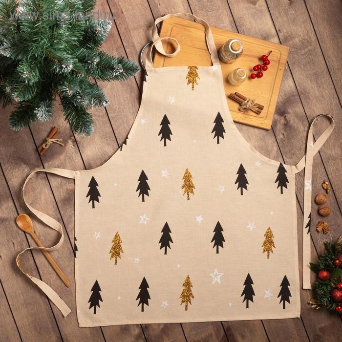 "Apron ""Share"" Christmas mood 60х65см, 100% cotton, Gunny 164 g/m2"