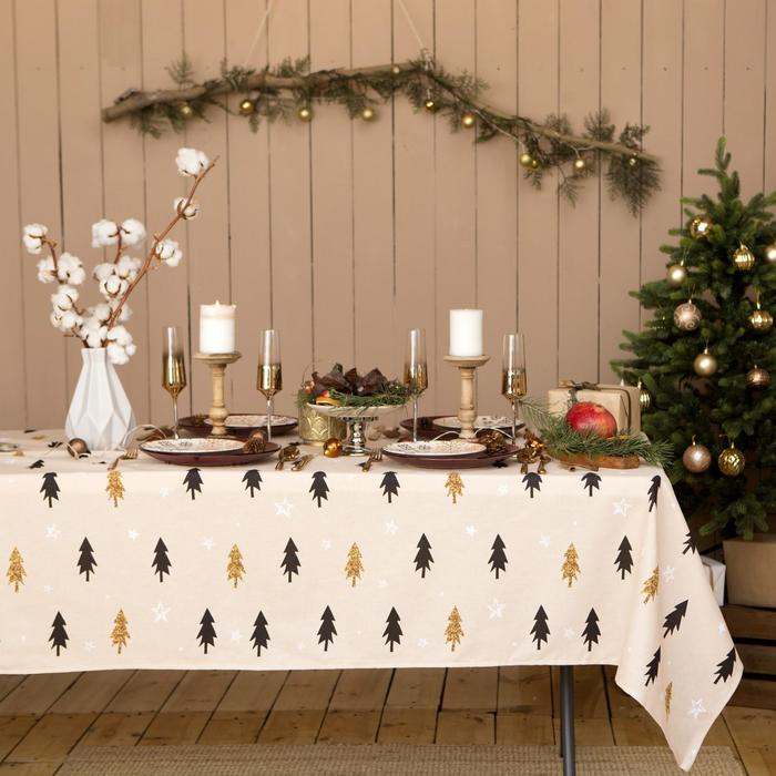 "Tablecloth ""Share"" Christmas mood 146х220см, 100% cotton, Gunny 164 g/m2"