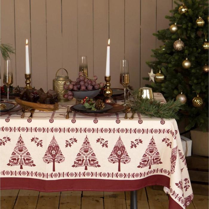 """Скатерть """"Доляна"""" Merry Christmas 146х220см, 100%хл, рогожка 164 г/м2 - фото 491449"""