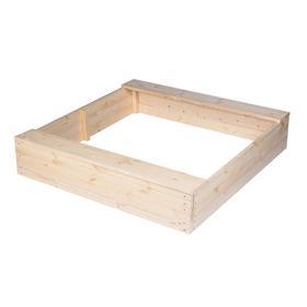 Песочница деревянная без крышки, 150 × 150 × 27 см, с сиденьями, без покраски, «Стюарт-1»