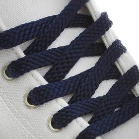 Шнурки для обуви плоские, 10 мм, 90 см, цвет тёмно-синий Ош