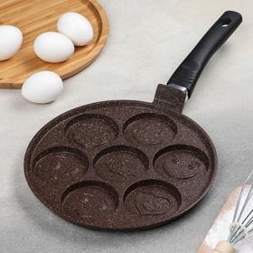 Сковорода-оладница d=23 см, с пластиковой ручкой, цвет коричневый