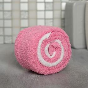 Полотенце-леденец 30 см × 30 см, бело-розовое