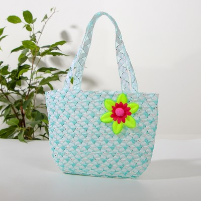 Handbag with flower design, blue color