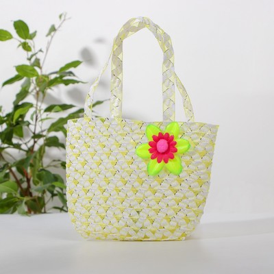 Handbag with flower, yellow