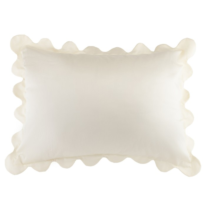 Наволочка с рюшами Этель цв.молочный, 50*70 см, сатин, хлопок 100 % - фото 105556447
