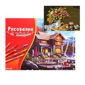 Картина по номерам на холсте 30 × 40 см, «Красивые цветы на столе»