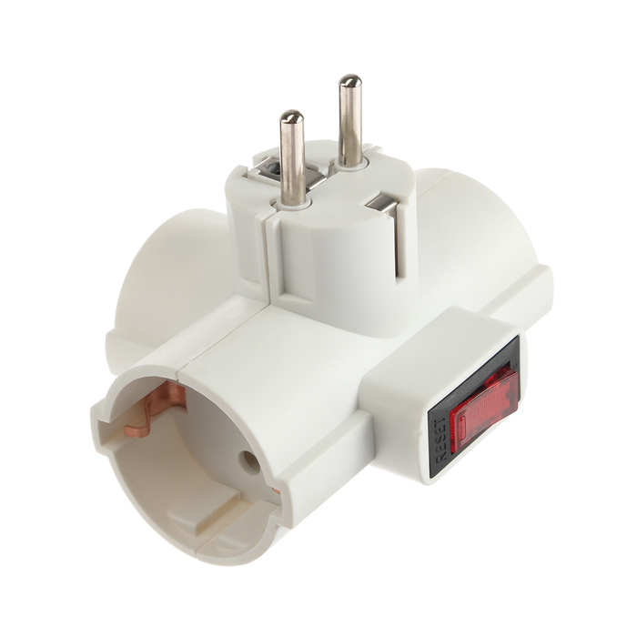 Разветвитель сетевой с защитой и с выключателем Uniel, 3 гнезда, 16 А, 3500 Вт, с/з, белый