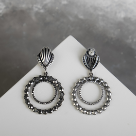 "Earrings ""Shell"" round, color gray with black silver"