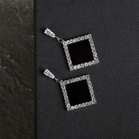 """Earrings """"grace"""" diamond in cut, color black and white in silver"""