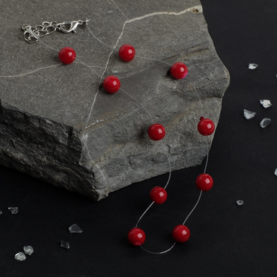 """The beads on the fishing line """"Pearl"""", 8 ball, color red, 30cm"""