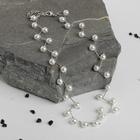 """Бусы """"Жемчуг"""" на зигзаге, d=0,6, цвет белый в серебре, 30см"""