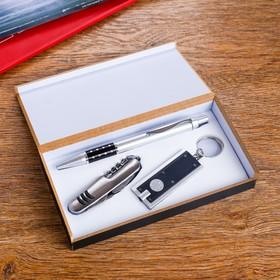 Подарочный набор, 3 предмета в коробке: ручка, брелок-фонарик, нож Ош