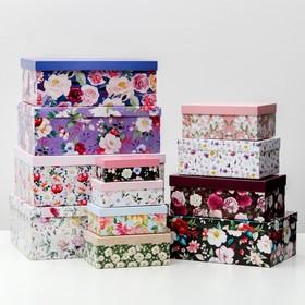 Набор коробок подарочных 12 в 1 «Цветы», 18 х 11 х 6.5 см - 46,6 х 35,2 х 17.5 см