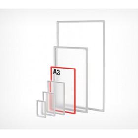 Frame made of impact resistant plastic with rounded corners A3, without a protector, color white