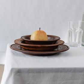 Набор тарелок из натурального кедра Magistro, 3 шт, 27,5×3 см, 23,5×4 см, 19×4,5 см, цвет шоколадный