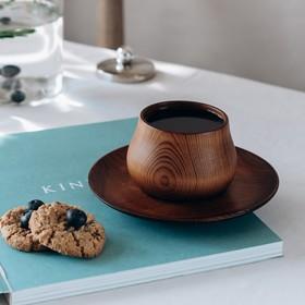 Чайная пара из натурального кедра Mаgistrо, чашка 150 мл, блюдце d=15,5 см, цвет шоколадный